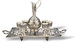 Carved Tray With Cups & Jag  iran metal work art work brass silver gold cupper felez iron ahan